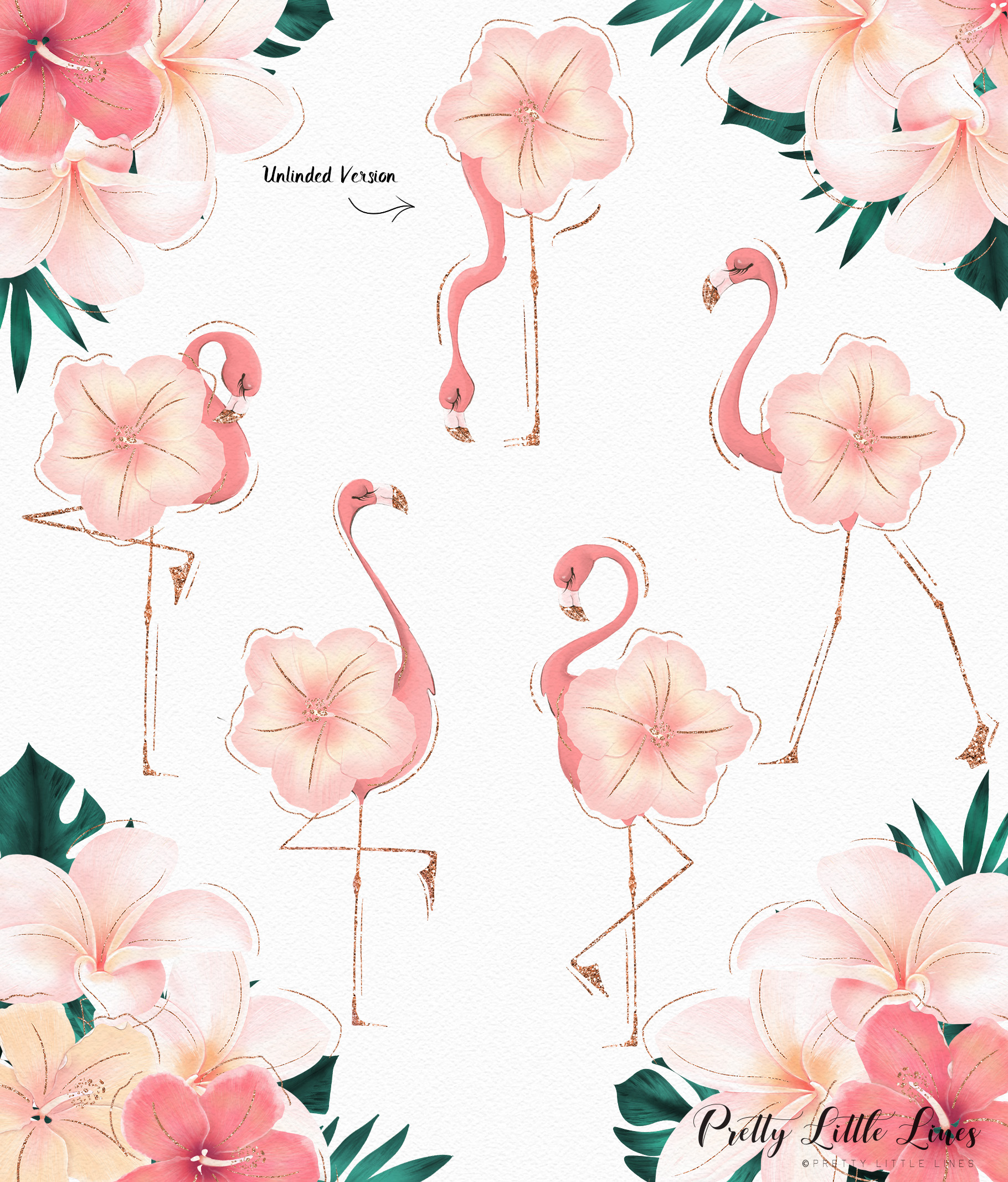 Tropical Flowers & Flamingos example image 7