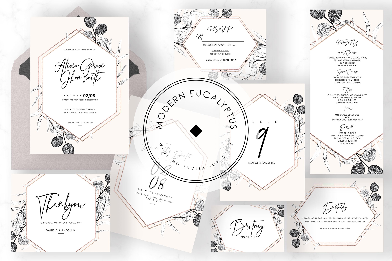6 IN 1! Eucalyptus Wedding invitations bundle example image 4