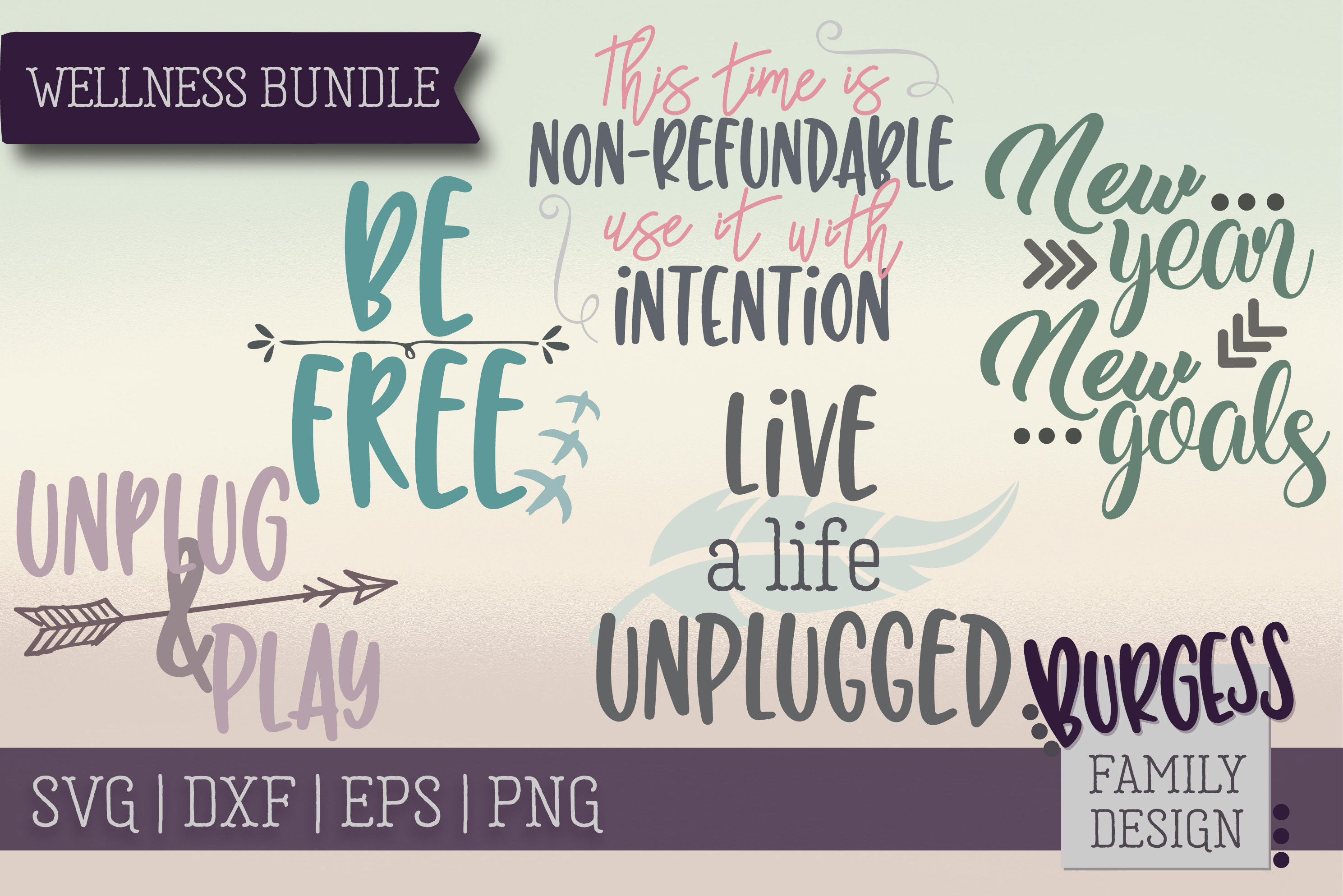 Wellness Bundle | SVG DXF EPS PNG example image 1