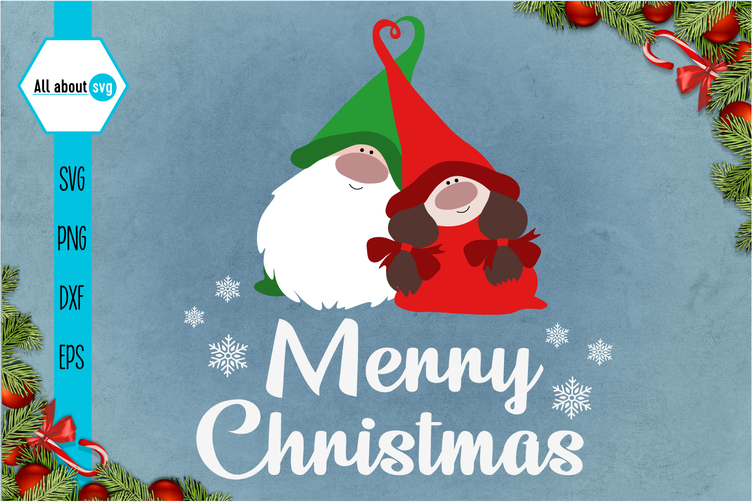 Merry Christmas, Gnome In Love Svg example image 1