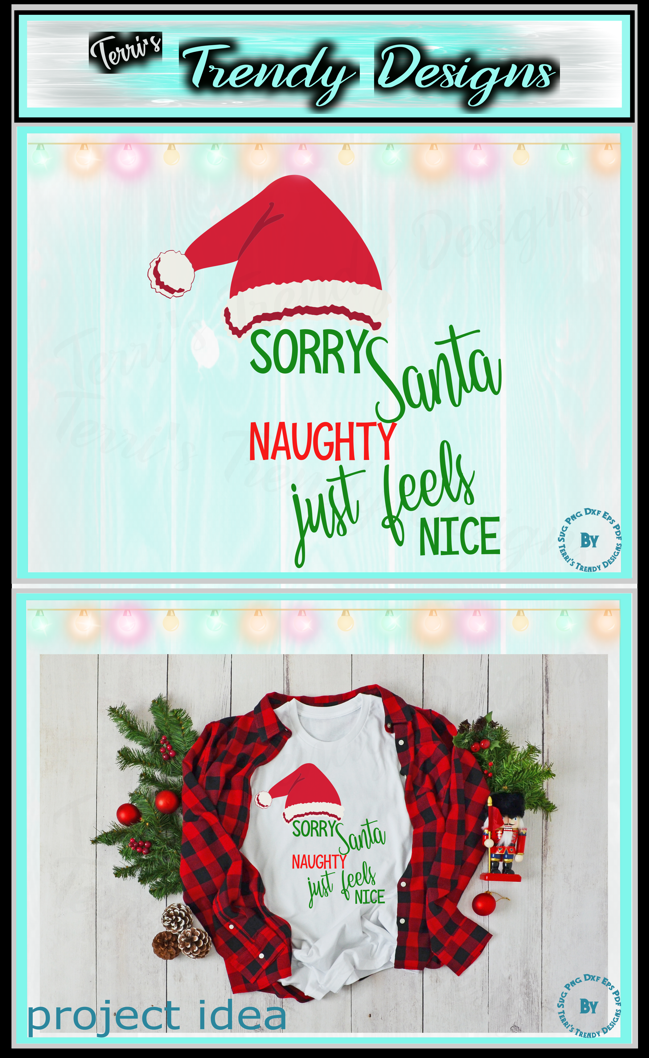Sorry Santa naughty just feels nice funny Christmas design example image 7