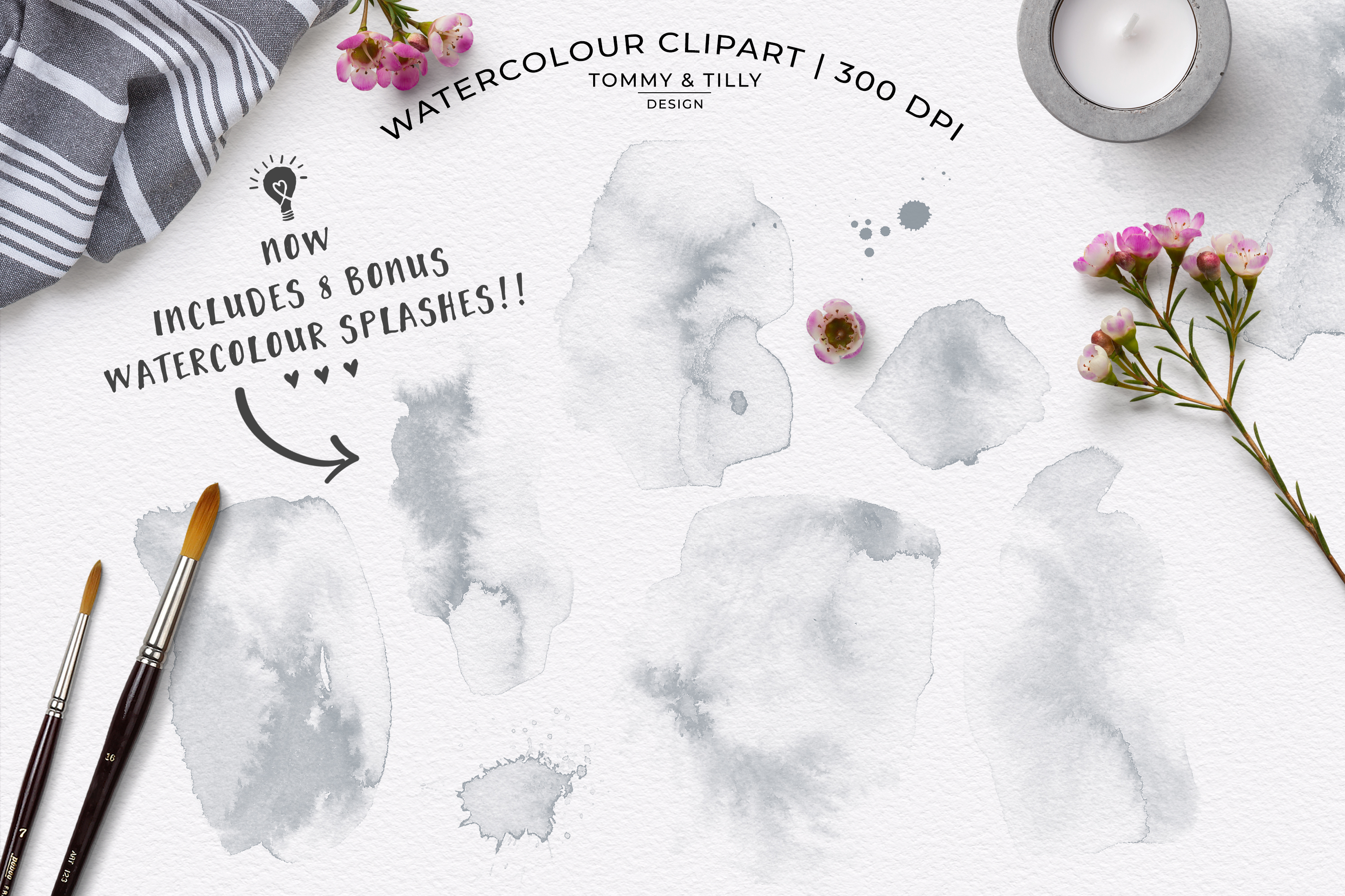 Watercolour Mist Grey Floral Frames - Wedding Clipart PNG example image 3