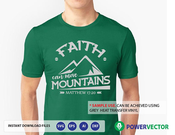 Bible Verse svg, dxf, eps. Faith can move mountains Svg, Religious Svg, Matthew 17:20 svg example image 2