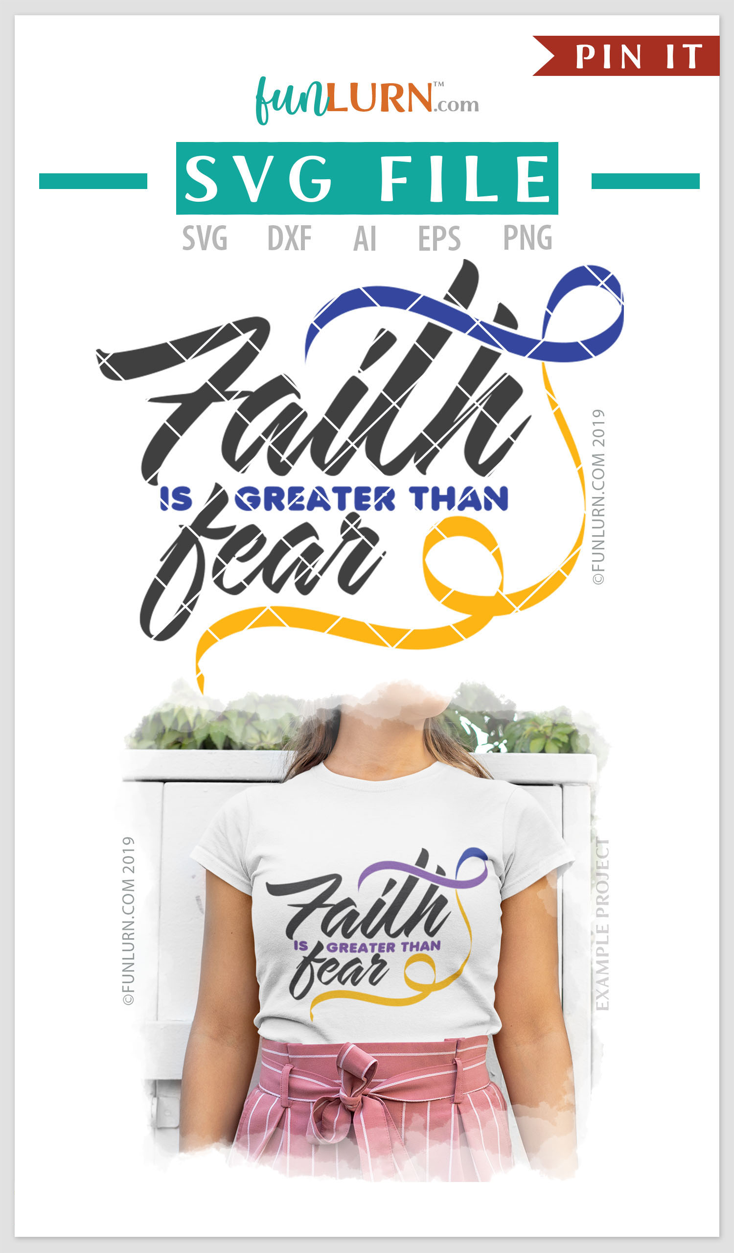 Faith is Greater Than Fear Purple Blue Yellow Ribbon SVG example image 4