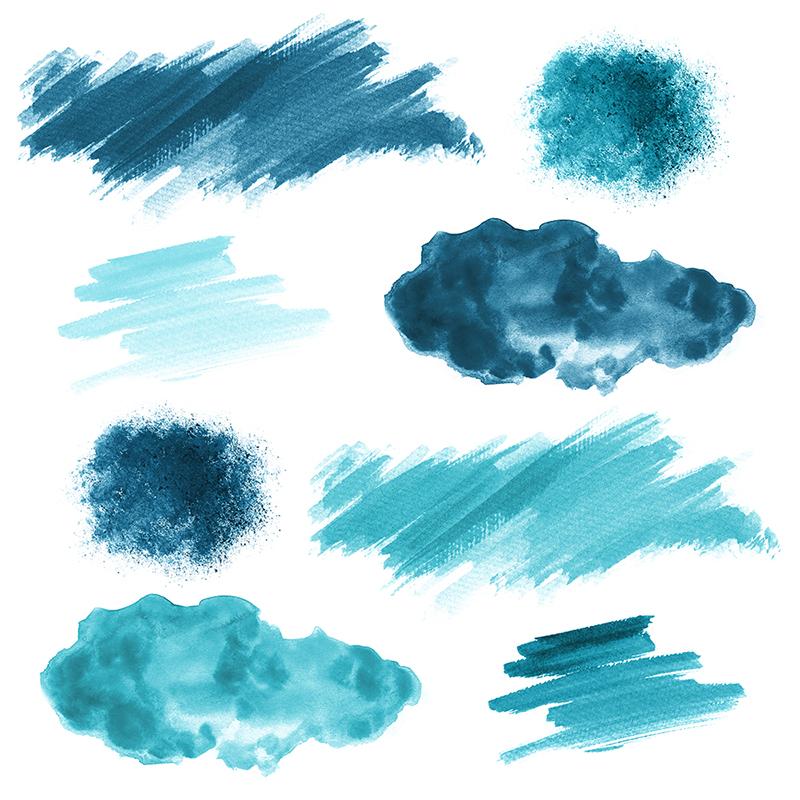 16 Blue Watercolor Design Elements example image 2