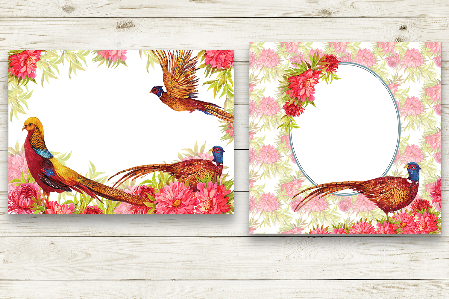 Pheasants, birds and flowers example image 4