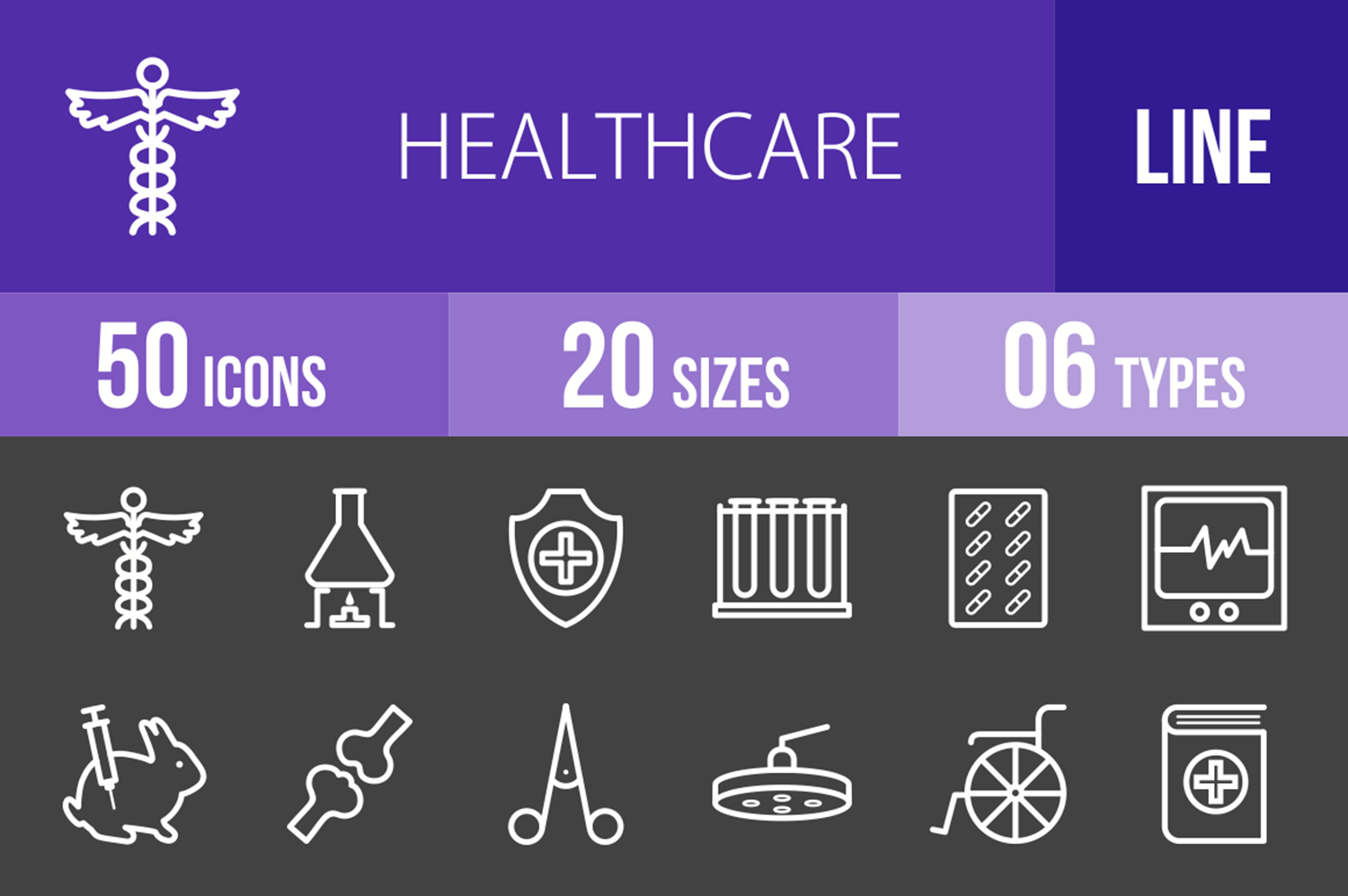 50 Healthcare Line Inverted Icons example image 1