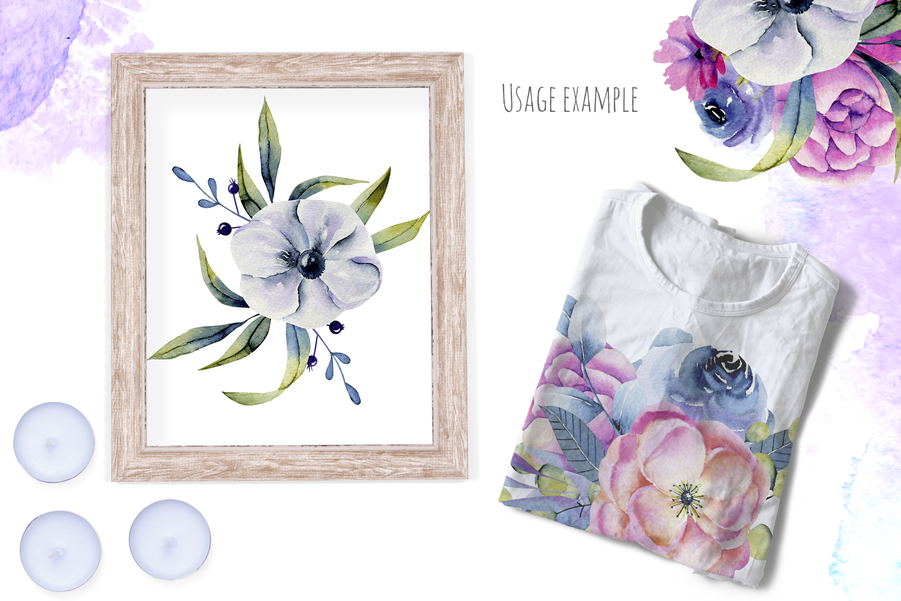 Wyoming flowers. Watercolor clipart. example image 12