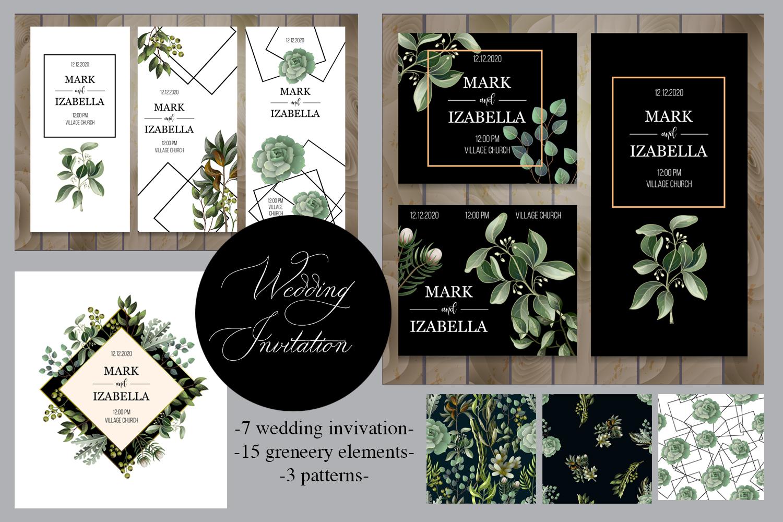 Wedding greenery invitation, patterns and isolated elements example image 1