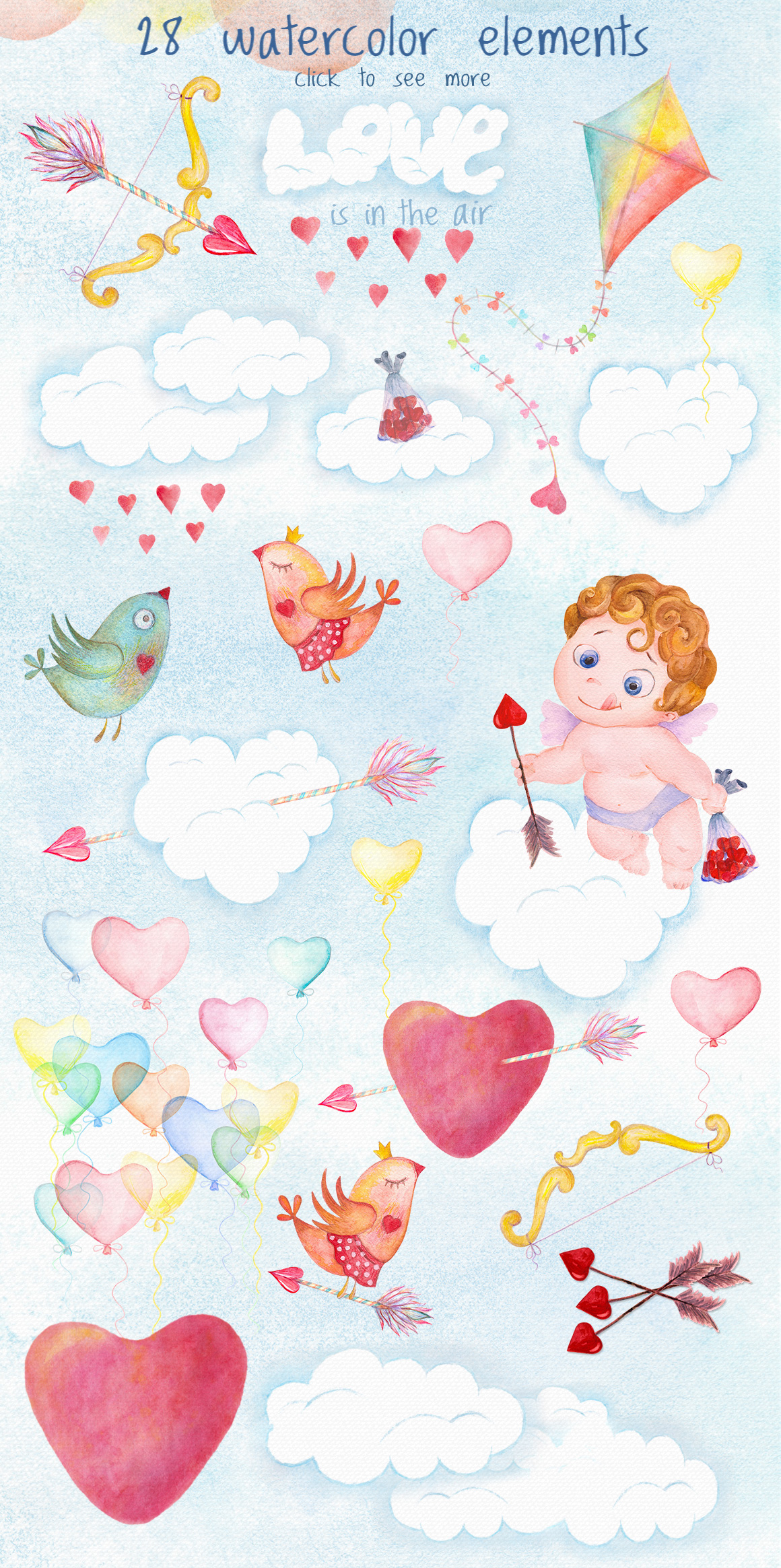 Romantic watercolor set. Love is in the air example image 2