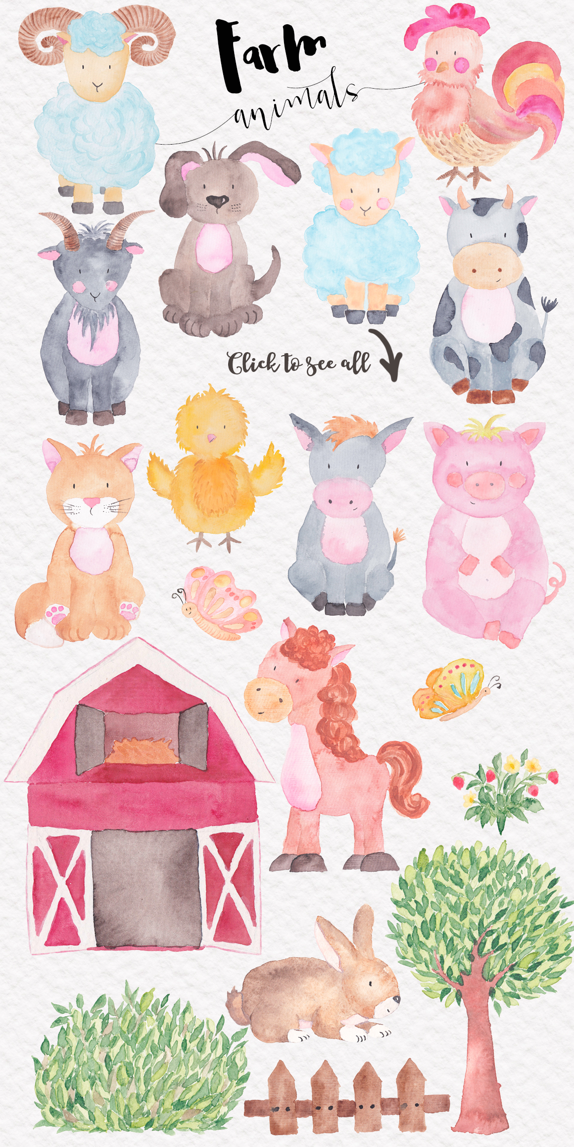 Farm Animals Watercolor Collection example image 2