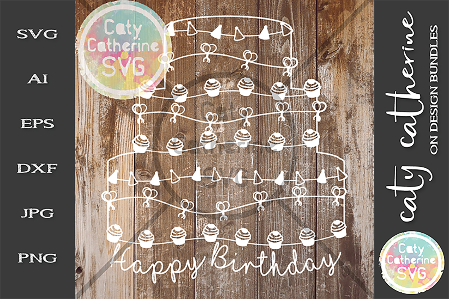 Happy Birthday Cake SVG Cut File example image 1