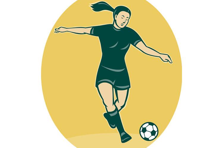 soccer player woman kicking ball example image 1