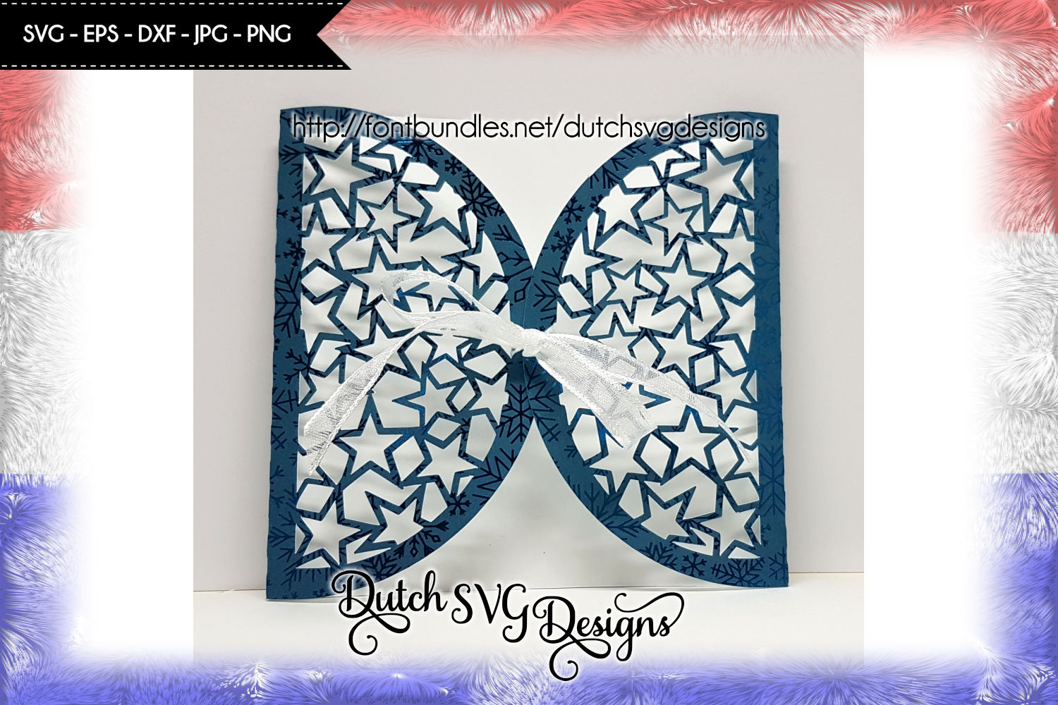Blank card cutting file with stars, card svg, christmas card example image 2