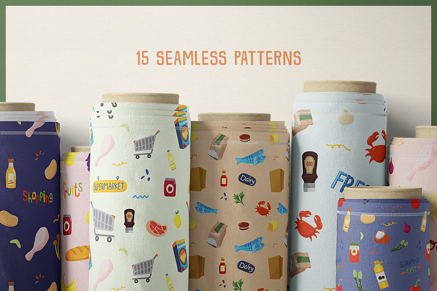 80 Groceries Vector Clipart & Seamless Patterns example image 7