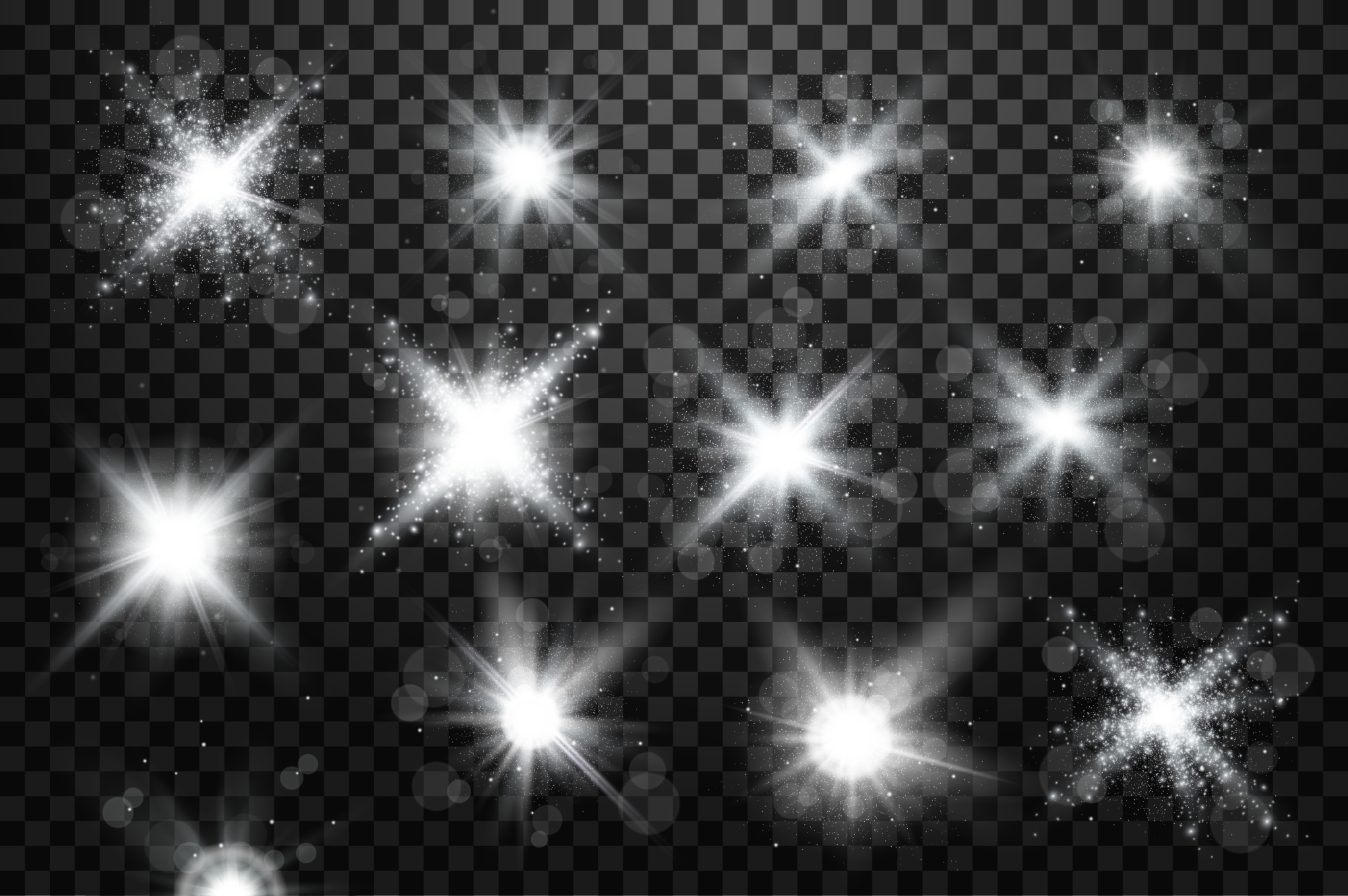 Set of light bursts in golden, blue and silver example image 3