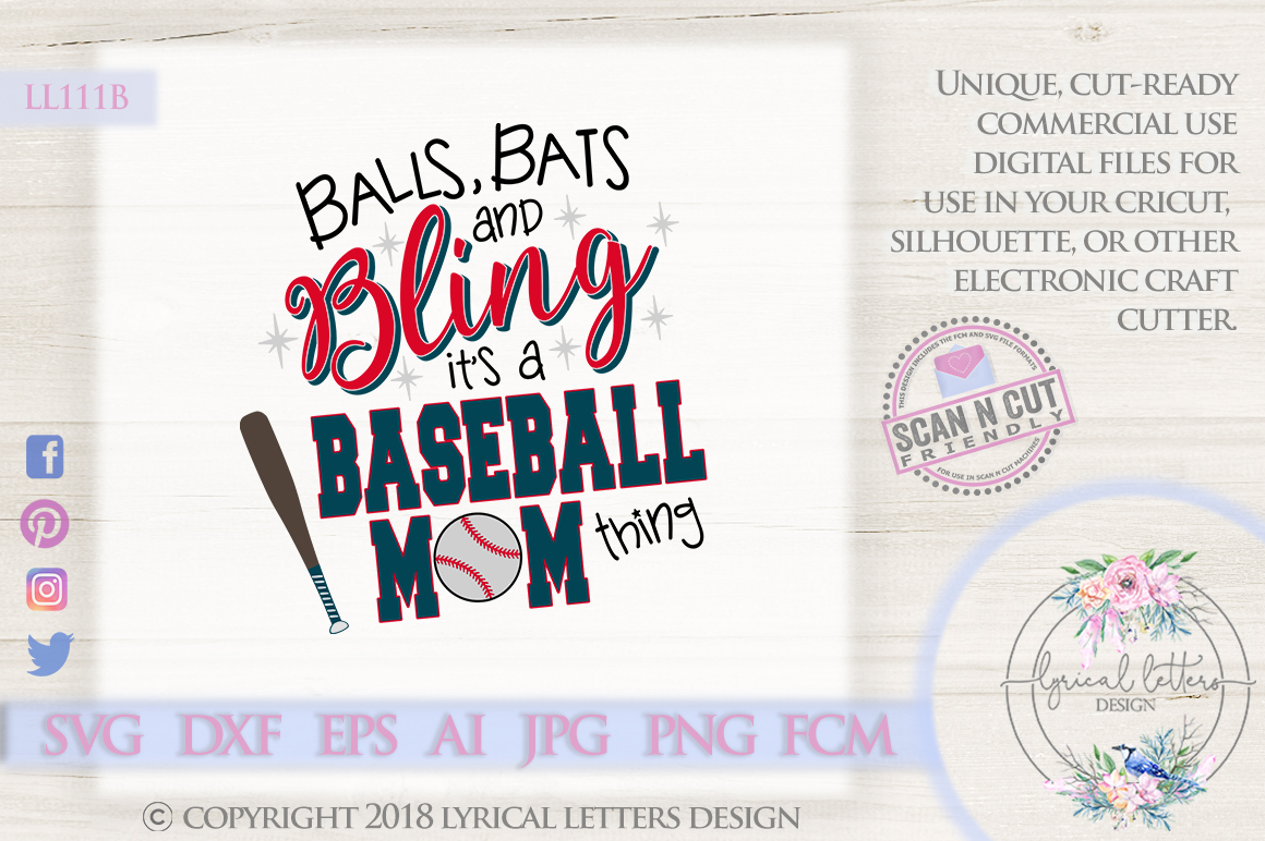 Balls Bats and Bling It's a Baseball Mom Thing SVG LL111B example image 1