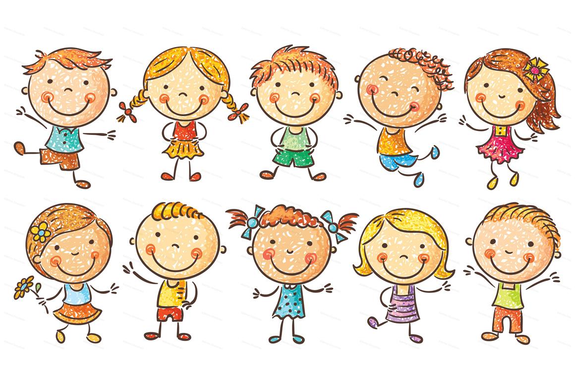 Happy Cartoon Kids Bundle, children doodle, kids doodle example image 24