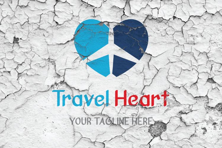 Aeroplane Heart Shape Logo example image 2