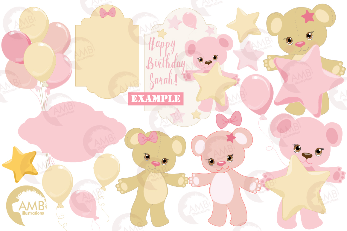 Teddy bear, nursery, baby girl, baby pink bear, clipart, graphics, llustrations AMB-1450 example image 3