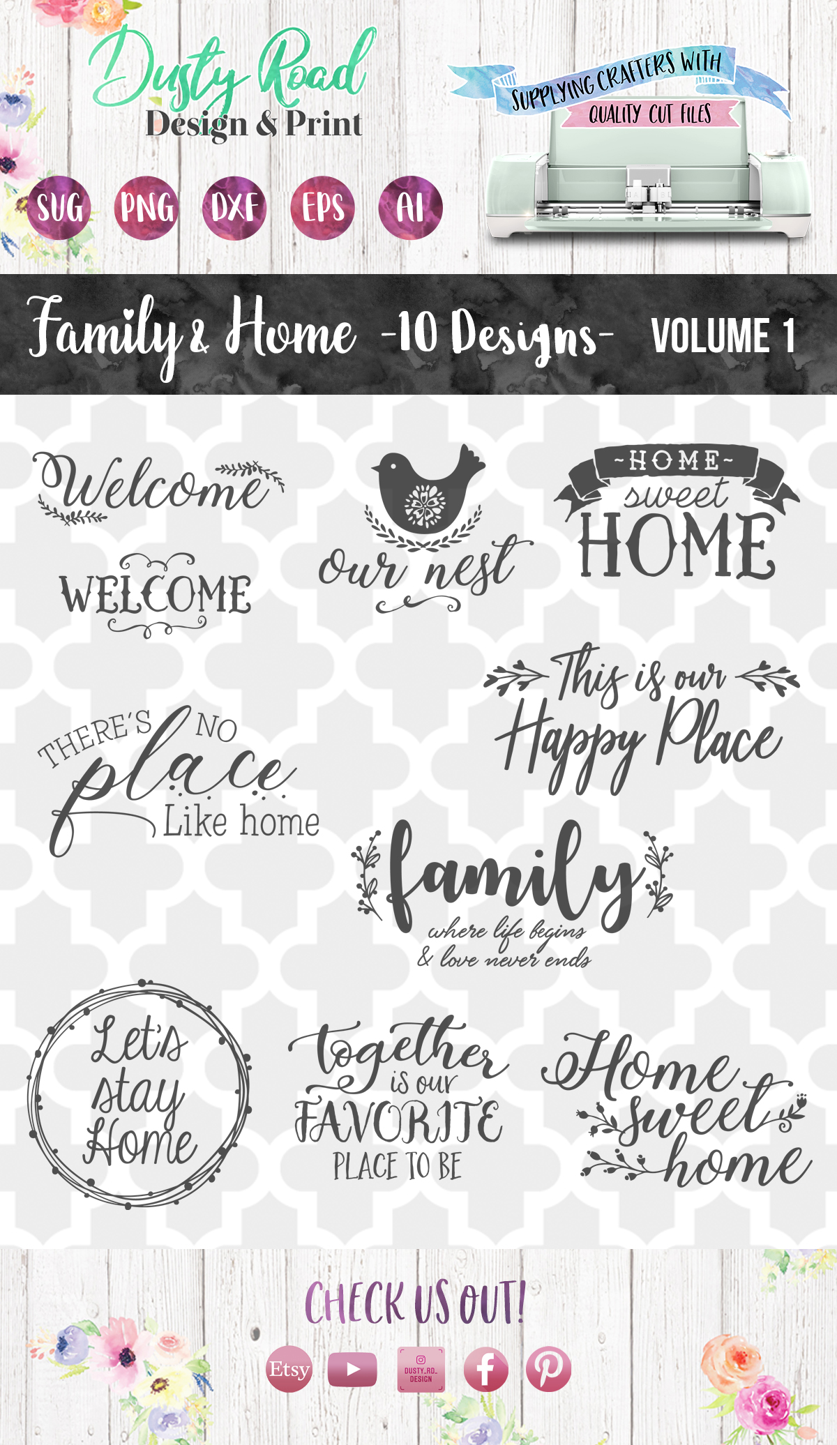 FAMILY & HOME- 10 designs - svg cut files Cricut Silhouette example image 3