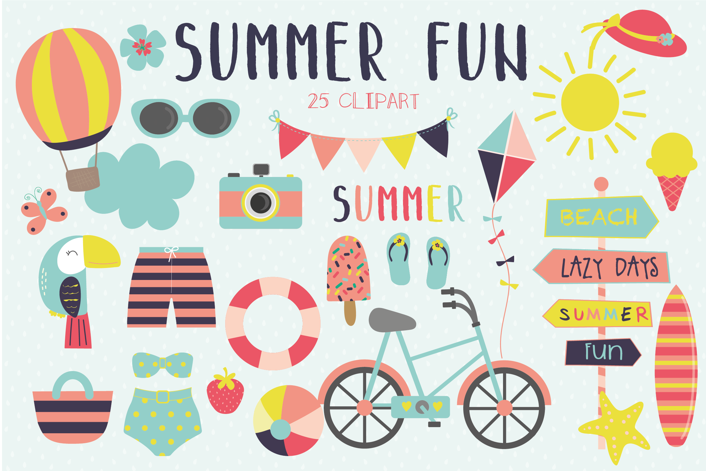 Summer fun clipart and paper set
