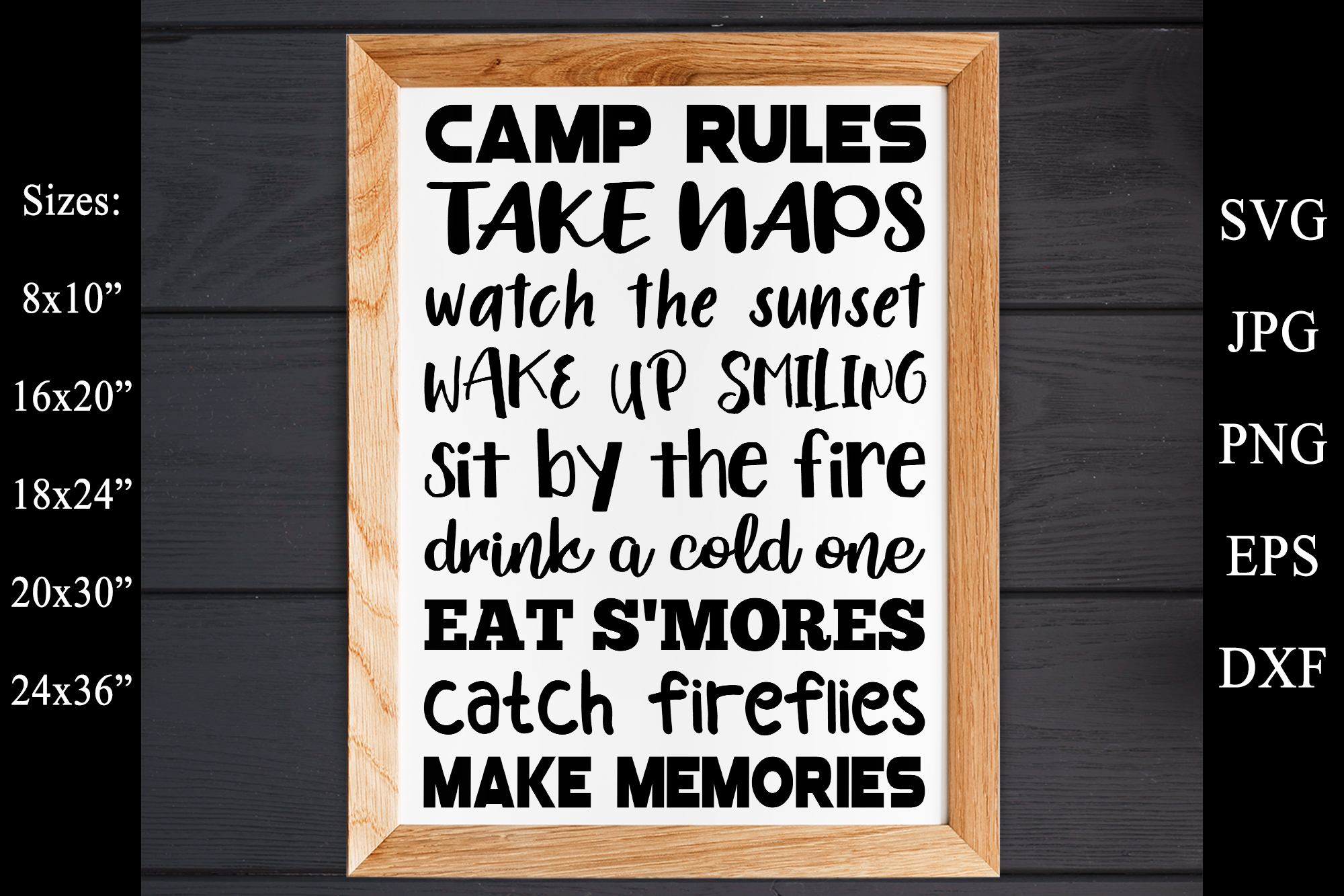 Camp Rules SVG EPS PNG Camping Rules SVG Camping Sign example image 1