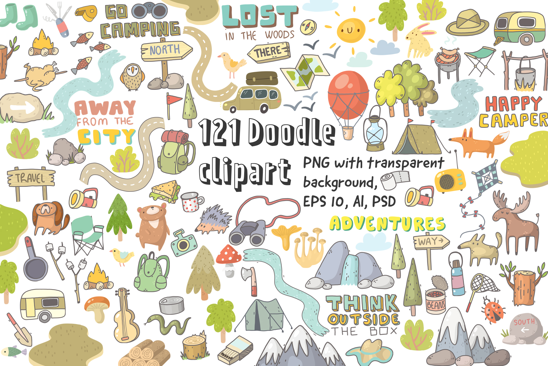 Camping clipart, patterns, designs example image 2