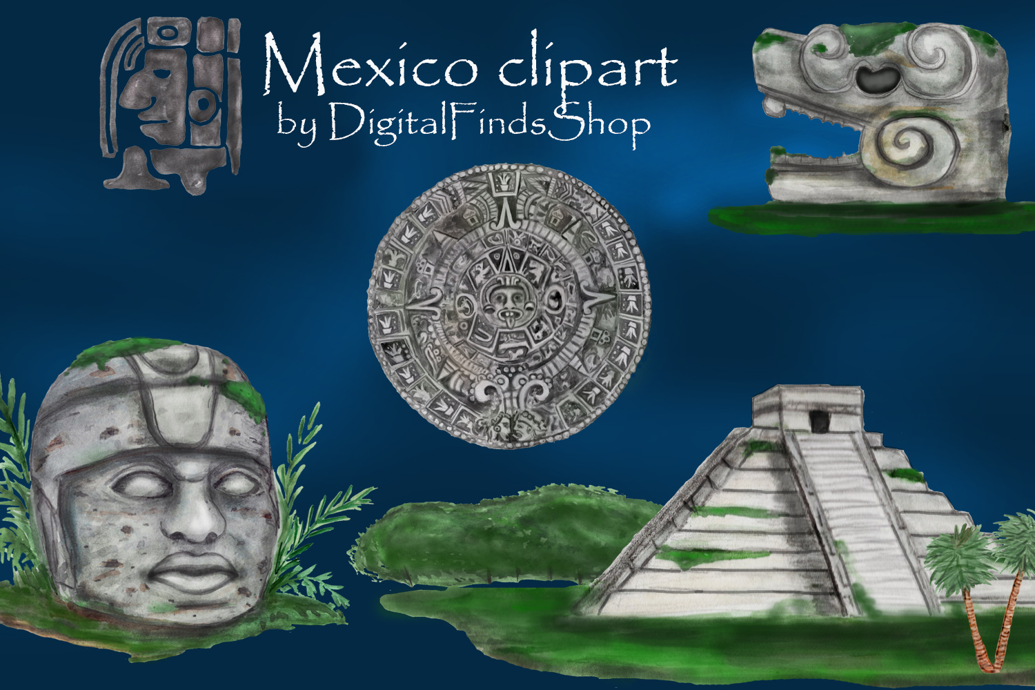 Mayan clipart, ancient civilizations of Mexico watercolor example image 1