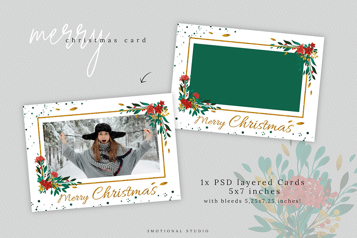 Merry Christmas Card Template 5x7 example image 4
