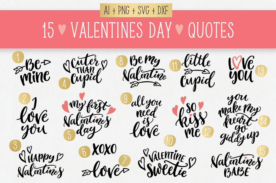 Valentines Day quotes SVG bundle example image 5