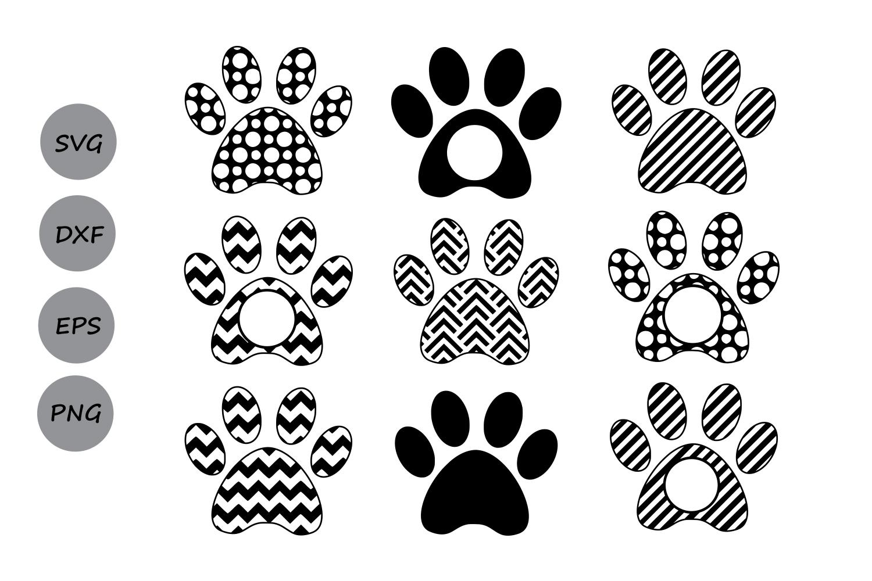 Download Paw Print SVG, Paw Print Monogram, Dog Paw SVG, Die Cuts ...