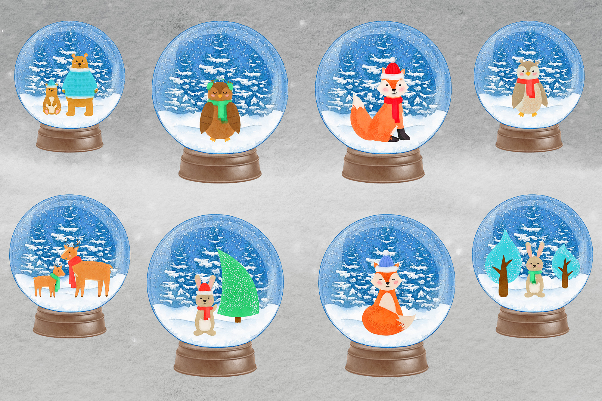 Watercolor Woodland Snow Globes, Woodland Animal Clipart example image 2