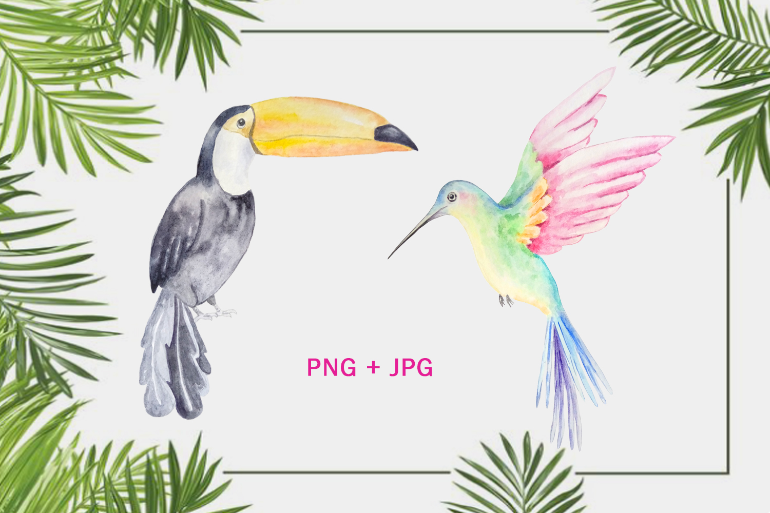 Watercolor Tropical Fruits, Flowers and Birds Clipart Set example image 4
