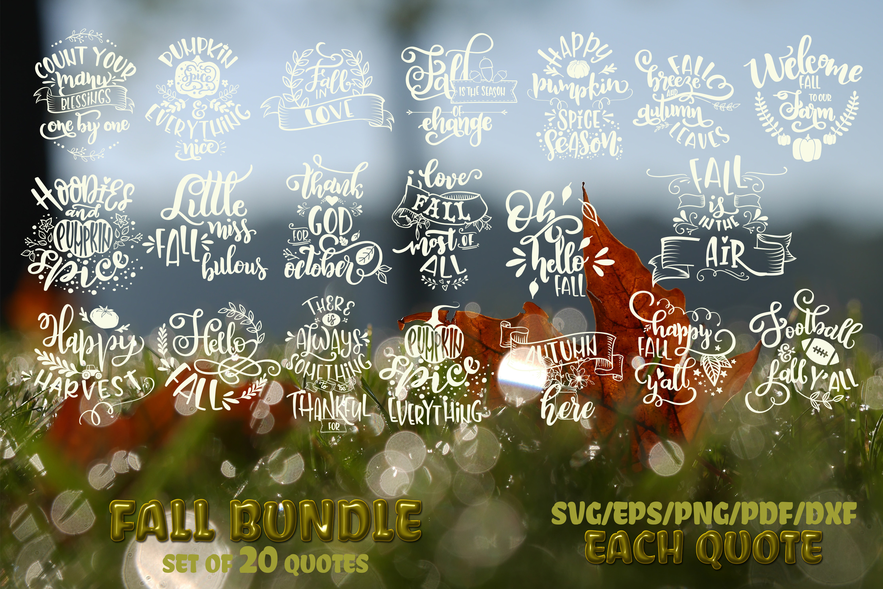 Fall svg BUNDLE BIG set of 80 quotes Autumn Thanksgiving example image 5