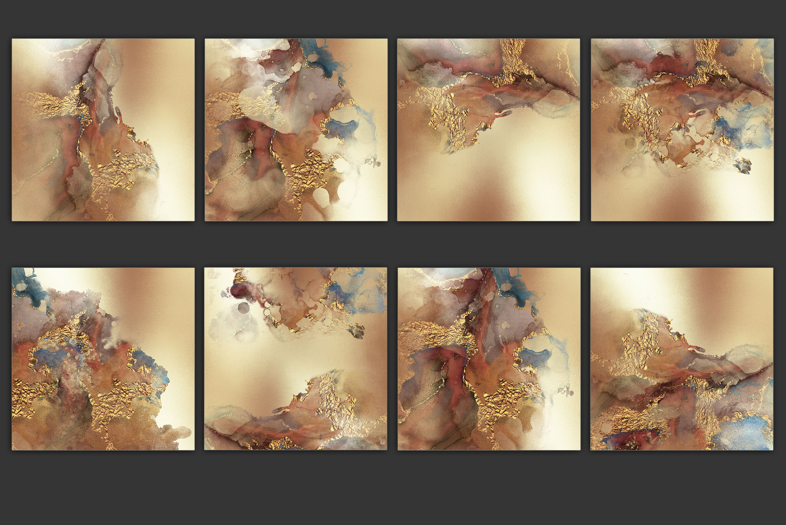 Gold Watercolor and Foil JPG-PNG Textures-BUNDLE example image 12