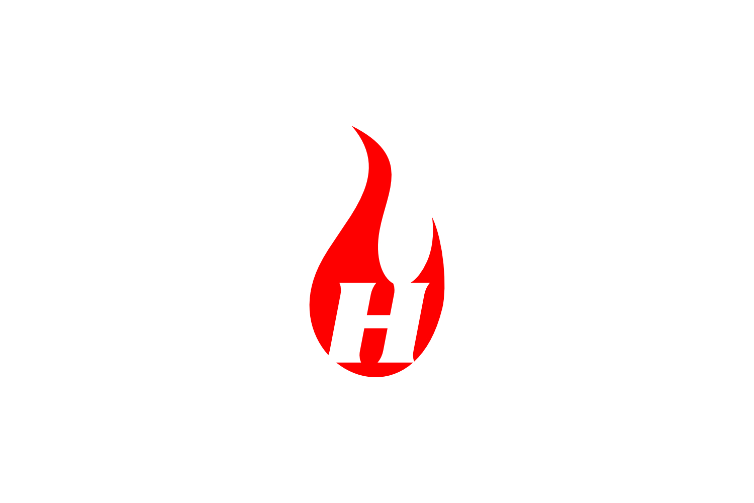 h letter flame logo example image 1