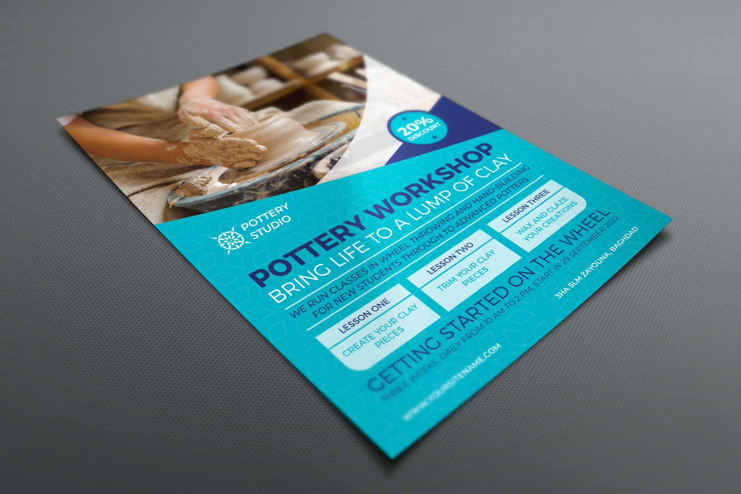 Pottery Workshop Flyer Template example image 3