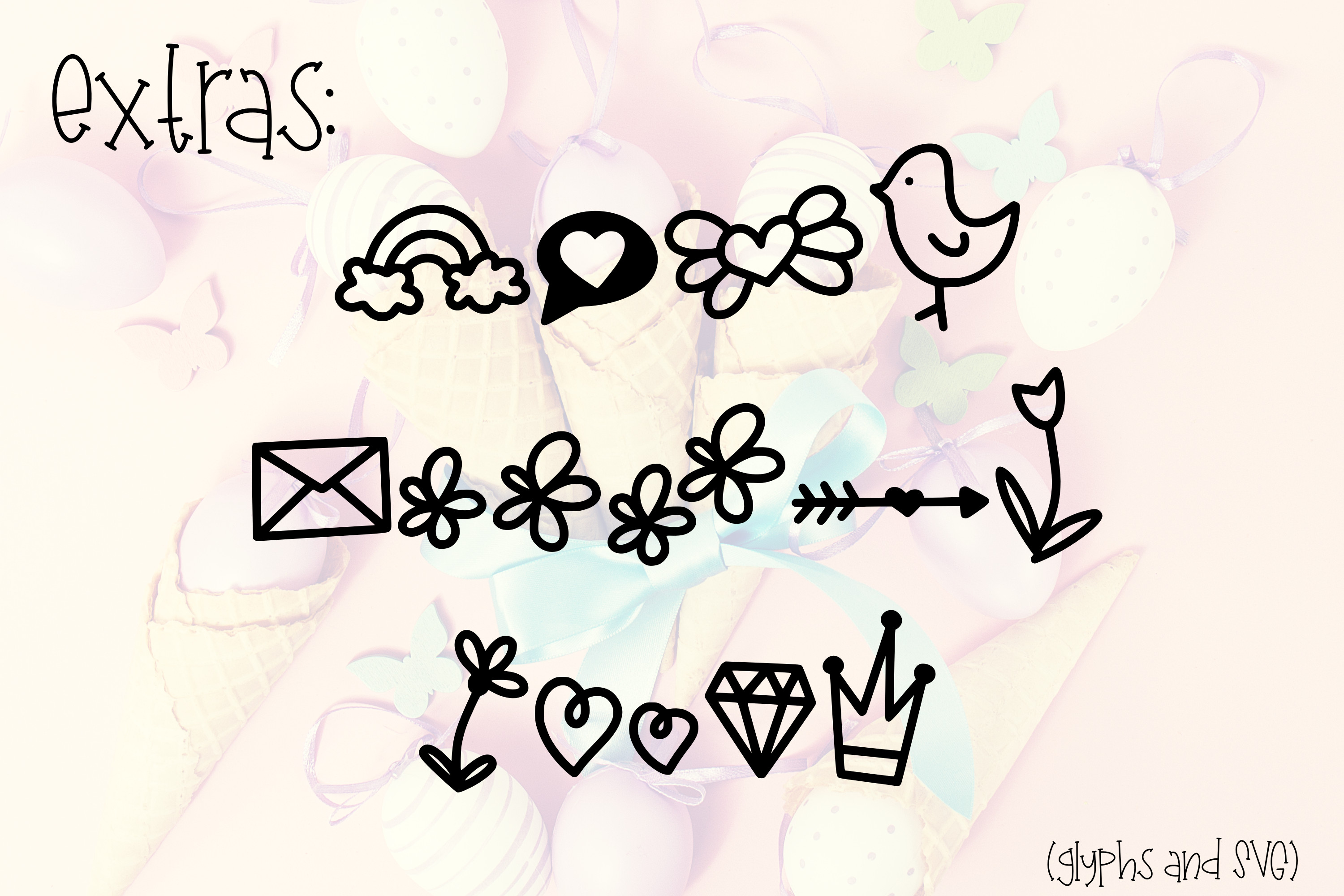 Chick-A-Leigh a Spring Font with Extra Doodles! example image 4