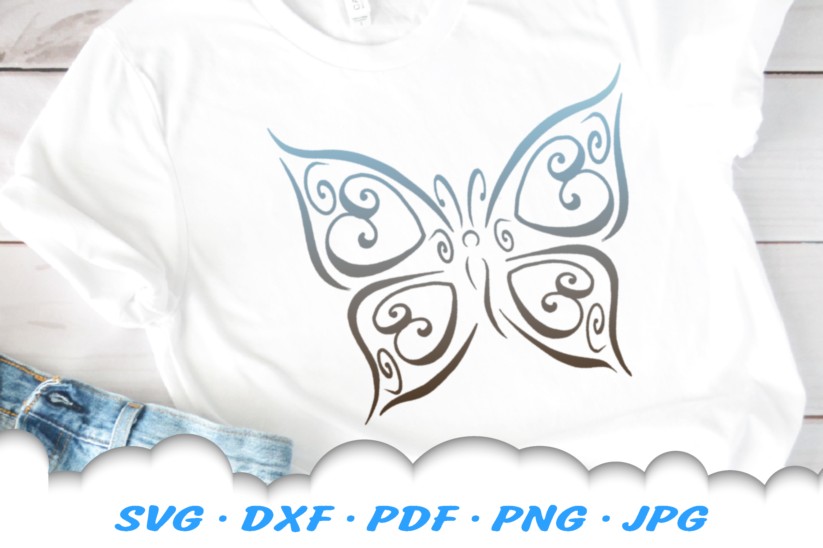 Tribal Butterfly Scroll Hearts SVG DXF Cut Files Bundle example image 3