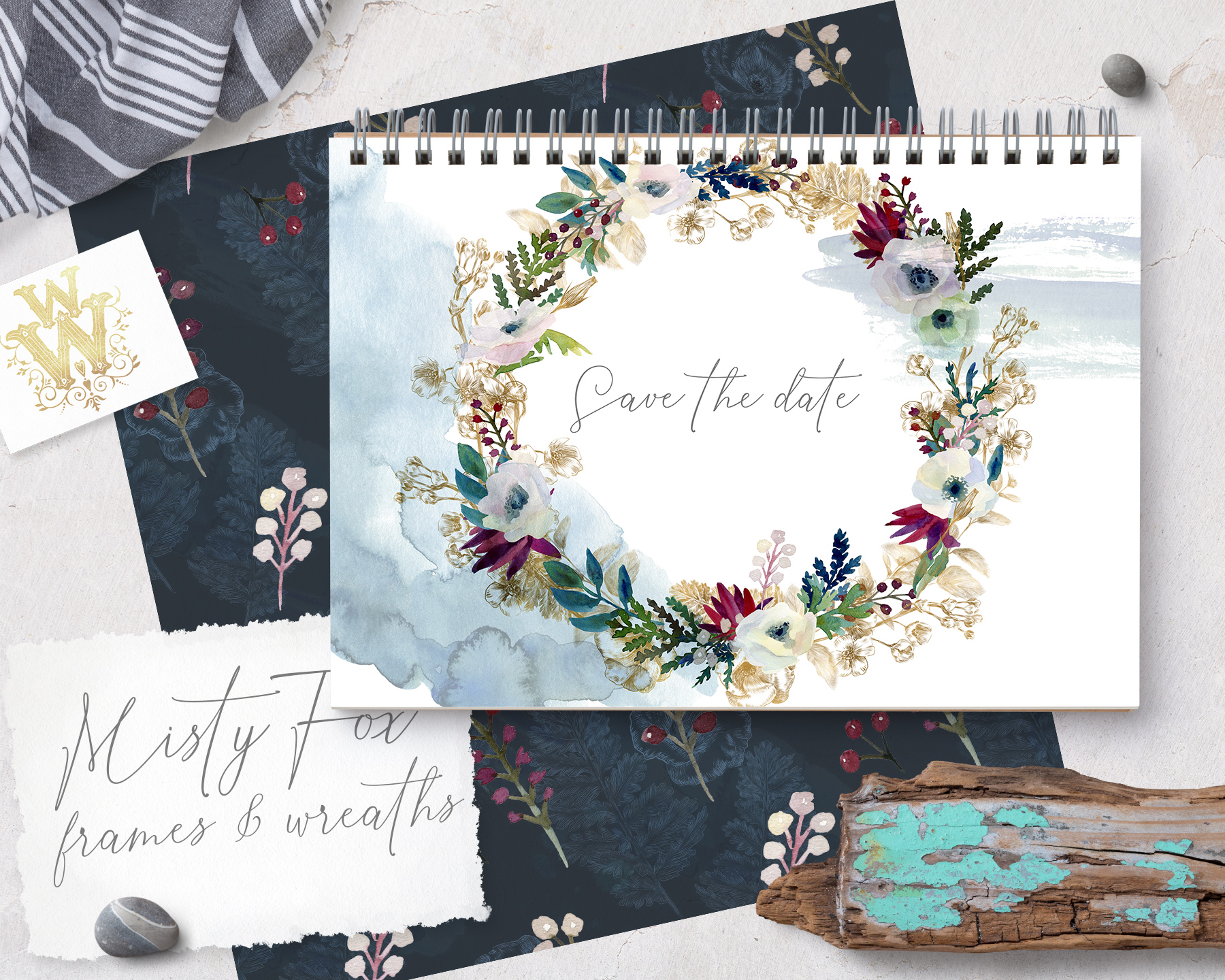 Watercolor white flowers frame, wedding wreath invitation example image 4