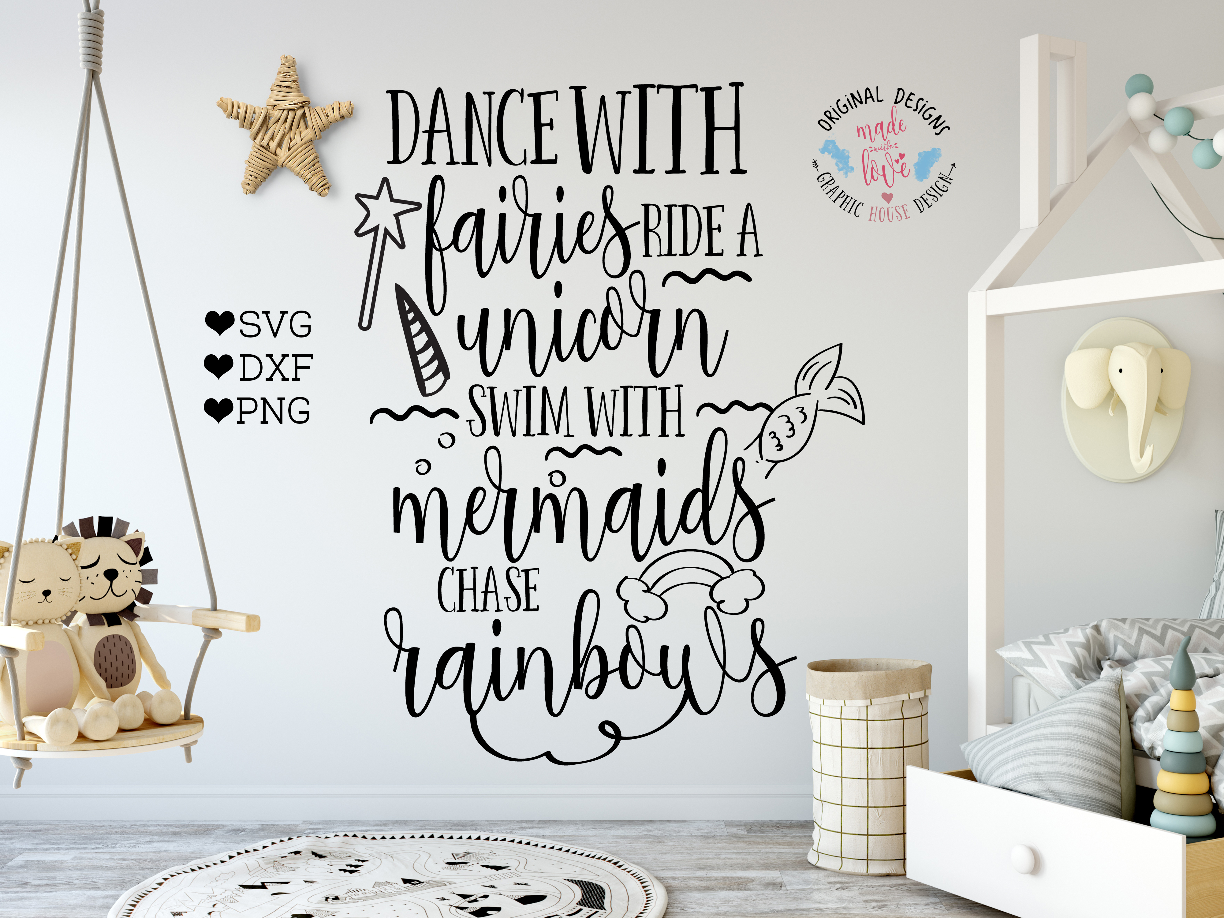 Dance with Fairies Ride a Unicorn Cut File example image 1