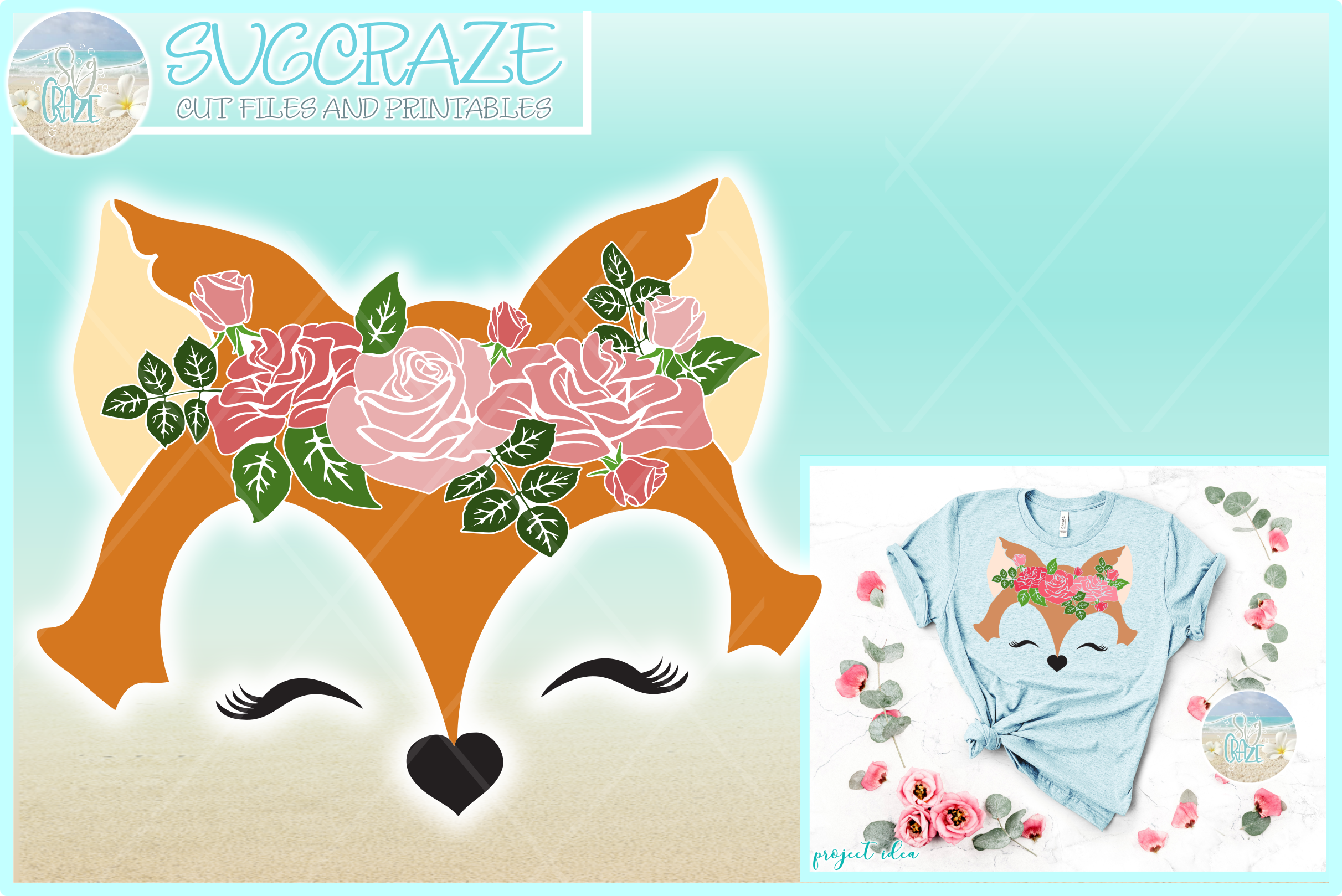 Fox Face with Roses Svg Dxf Eps Png Pdf Files example image 1