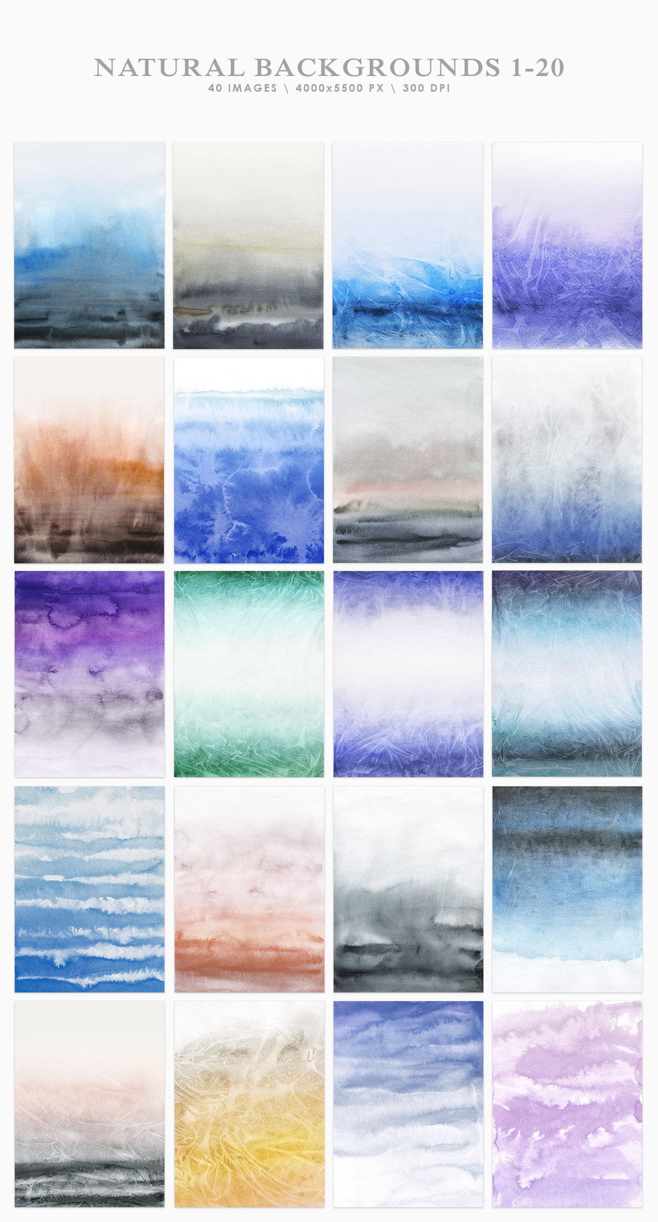 Natural Watercolor Ombre Backgrounds example image 2