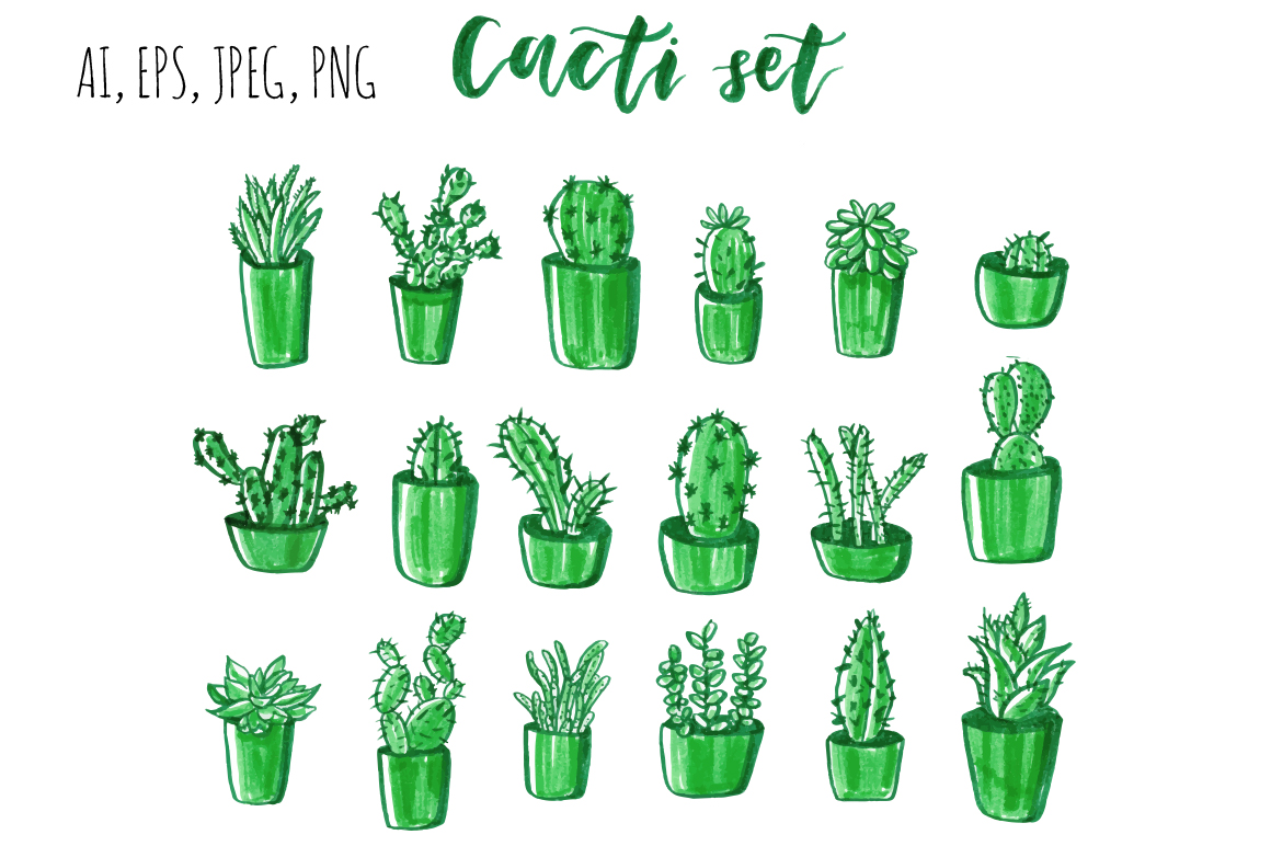 Cacti hand drawn set. example image 5