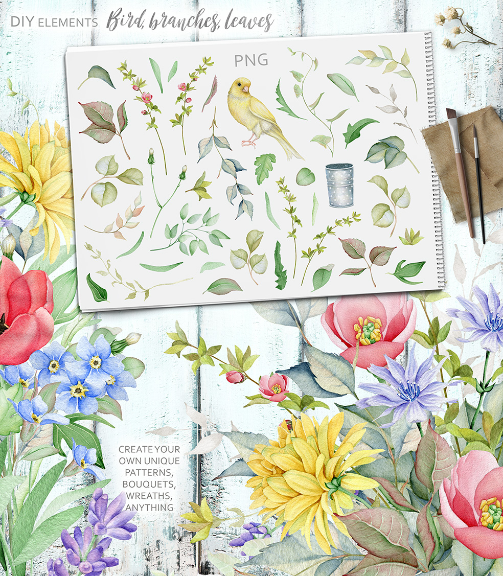 15%OFF. Watercolor Floral Collection example image 23