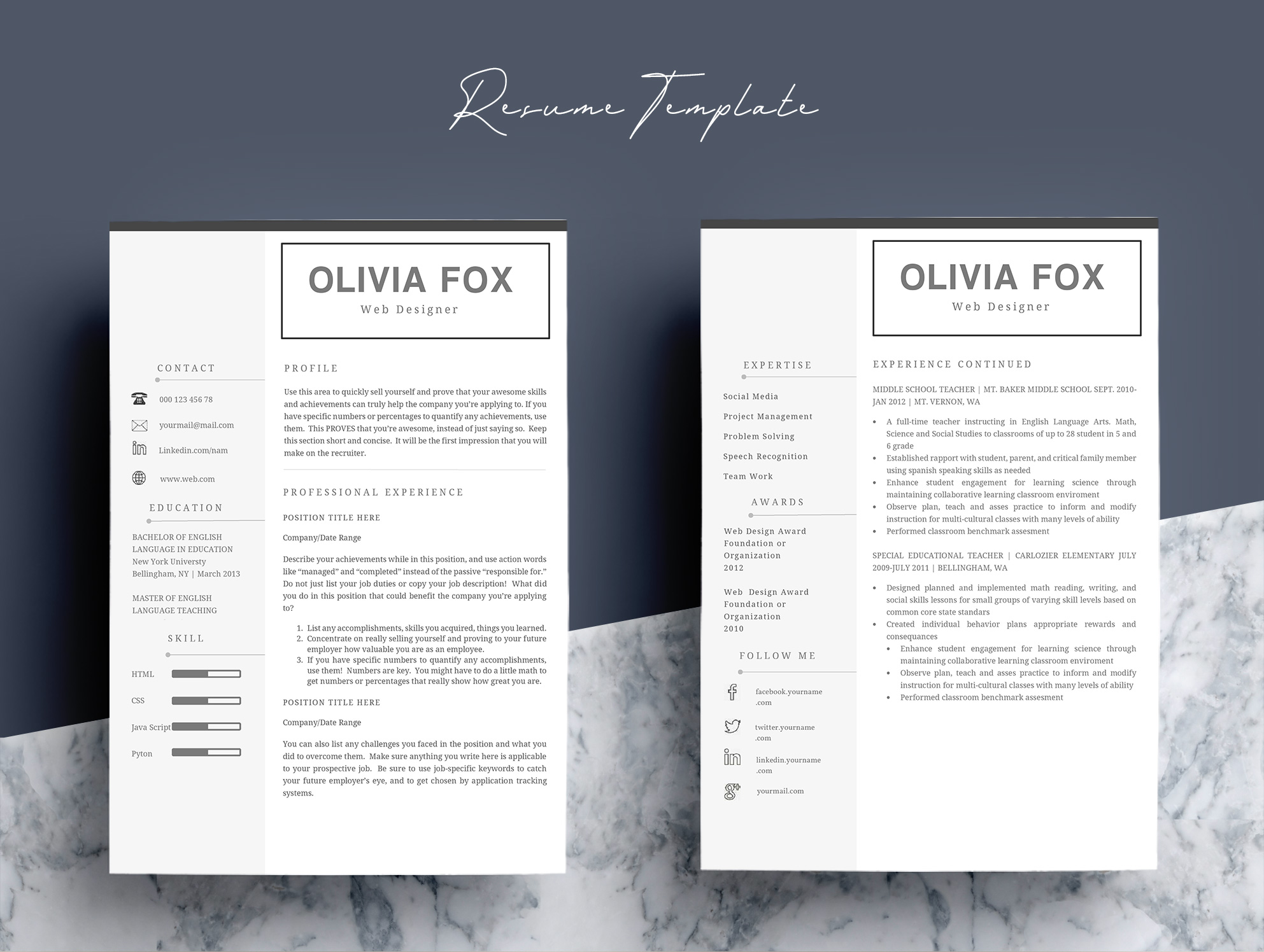 Clean Resume Template 4 Pages example image 7
