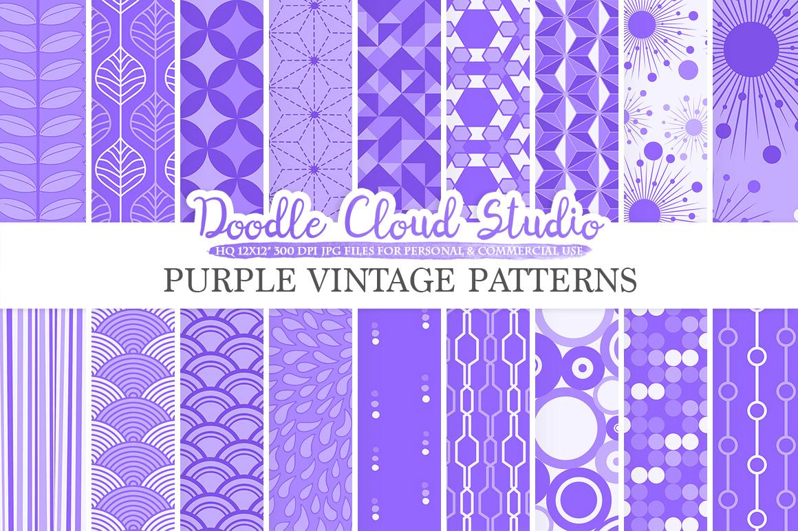 Purple Retro digital paper, Geometric Vintage Lavender Lilac patterns, Violet digital background, Instant Download Personal & Commercial Use example image 1