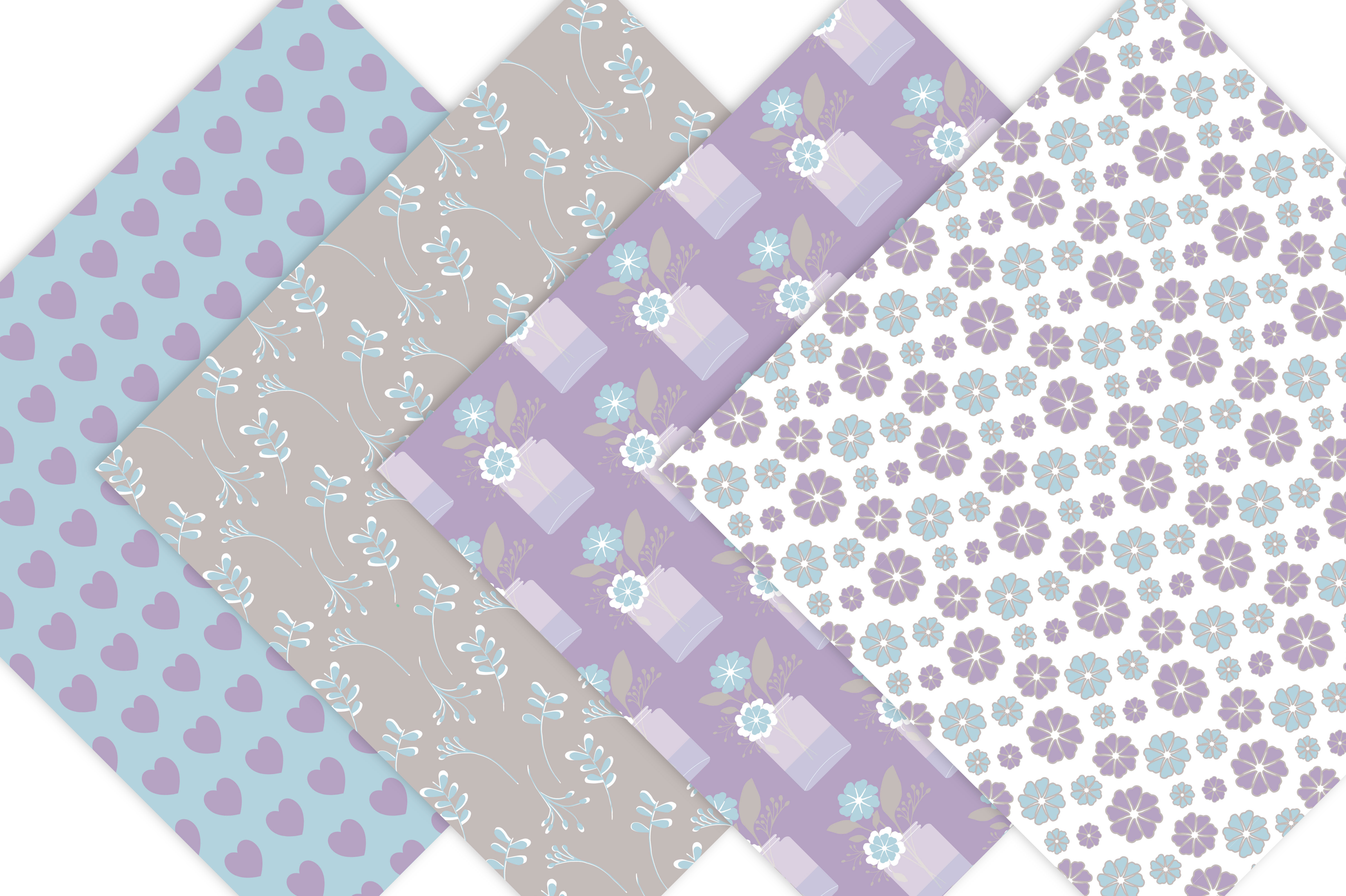 Floral Digital Paper Pack in Lavender, lilac, purple example image 6