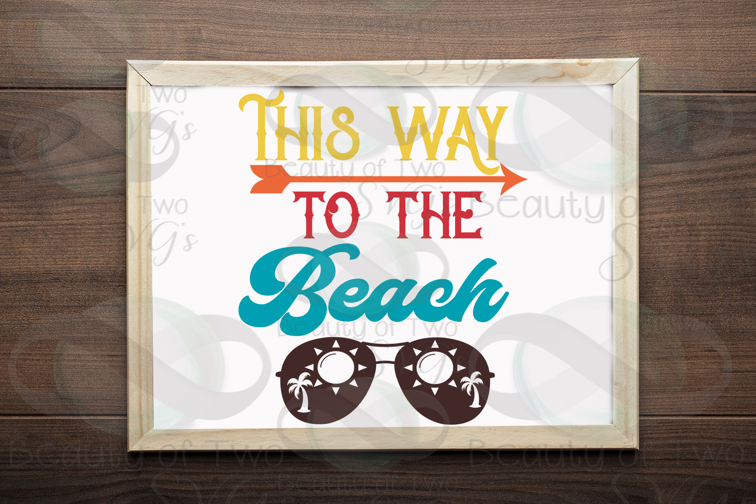 Sunglasses svg, This way to the beach svg and png, beach svg example image 1